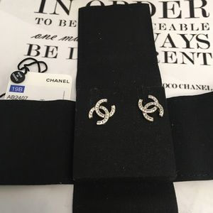 Brand New Chanel Stud Earrings With Crystals